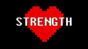 Pixel heart STRENGTH word text glitch interference screen seamless loop animation background new dynamic retro vintage. Pixel heart word text glitch interference stock video