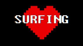 Pixel heart SURFING word text glitch interference screen seamless loop animation background new dynamic retro vintage. Pixel heart word text glitch interference stock video
