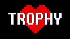 Pixel heart Trophy word text glitch interference screen seamless loop animation background new dynamic retro vintage. Pixel heart word text glitch interference stock video footage