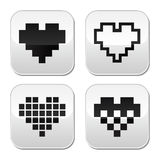 Pixel heart vector buttons set - love, dating online concept Royalty Free Stock Images