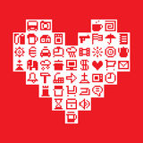 Pixel heart. Vector illustration Royalty Free Stock Images