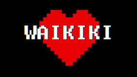 Pixel heart WAIKIKI word text glitch interference screen seamless loop animation background new dynamic retro vintage. Pixel heart word text glitch interference stock footage