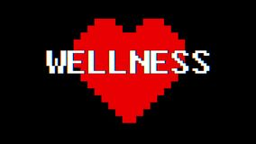 Pixel heart WELLNESS word text glitch interference screen seamless loop animation background new dynamic retro vintage. Pixel heart word text glitch interference stock video footage