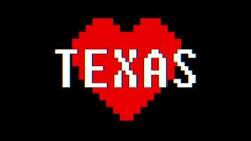 Pixel heart Texas word text glitch interference screen seamless loop animation background new dynamic retro vintage. Pixel heart word text glitch interference stock video footage