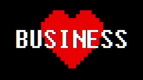 Pixel heart Business word text glitch interference screen seamless loop animation background new dynamic retro vintage. Pixel heart word text glitch interference stock video