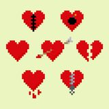 Pixel hearts. Set of pixel art heart icons,  illustration Royalty Free Illustration