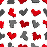 Pixel hearts seamless background pattern. Vector illustration royalty free illustration