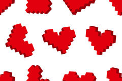 Pixel hearts seamless background pattern Royalty Free Stock Photo