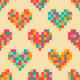 Pixel hearts seamless pattern Stock Photos