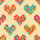 Pixel hearts seamless pattern Stock Photos