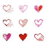 Pixel Hearts set. Royalty Free Stock Photos