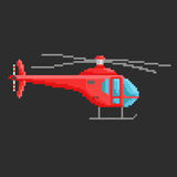 Pixel helicopter. Pixel art vector illustration of helicopter. Airline service. Flying air transport Royalty Free Stock Photo