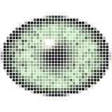 Pixel het maping van elliptisch groen oog Heldere iris, lichte bezinning in oog stock illustratie