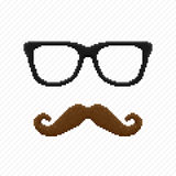 Pixel hipster glasses and mustache Royalty Free Stock Images