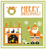 Pixel Holidays Card Christmas living room with Santa background. Merry xmas Royalty Free Stock Images