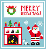 Pixel Holidays Card Christmas living room with Santa background. And xmas elements Stock Images