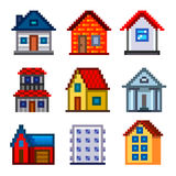 Pixel houses for games icons vector set Royalty Free Stock Photo