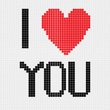 Pixel I love you Stock Photography