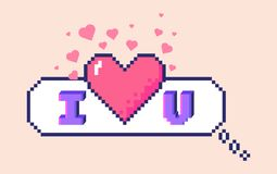 Pixel I love you sticker. Vector 8 bit pixel art speech bubble with 3D letters phrase I love you. Big heart in the center and small hearts around. Social vector illustration