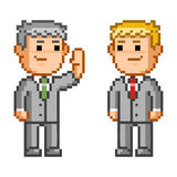 Pixel icon business negotiation. Vector businessman. Isolated illustration Stock Images