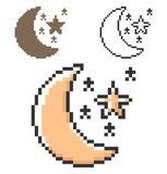 Pixel icon of crescent with stars clear night weather in three variants vector illustration