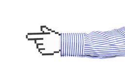 Pixel icon hand. Computer hand icon in sleeve over white background Stock Photo