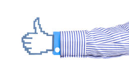 Pixel icon hand. Computer hand icon in sleeve over white background Royalty Free Stock Image