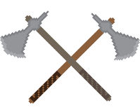 Pixel icon with the image of crossed battle axes Stock Photography