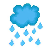 Pixel icon rain cloud. For design Stock Image