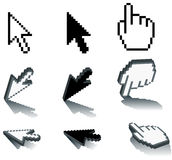 Pixel Icons. These are classic Pixel icons in their traditional form and in 3D Royalty Free Stock Images