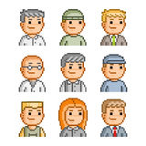Pixel icons of people. Vector avatars set for web Royalty Free Stock Images