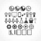 Pixel Icons. Set of pixel art grayscale icons Stock Illustration