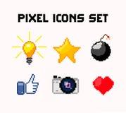 Pixel icons set vector illustration