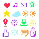 Pixel icons for social networks Royalty Free Stock Photography