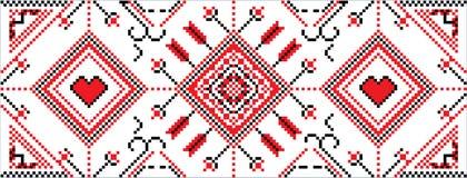 Pixel Slavic folklore ornament. Pixel illustration of Slavic folklore ornament stock illustration