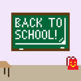 Pixel image of the classroom for the holiday of knowledge stock illustration