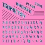 Pixel isometric font. 8-bit symbols. 3D Digital video game style. Letters and numbers. Vintage retro typeface abc. Vector Alphabet, Futuristic style. Error stock illustration