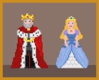 Pixel king and princcess royalty free illustration