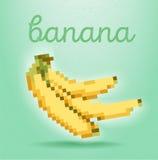 PIXEL-konst stilaffisch med bananfrukt på ljus - grön backgrou stock illustrationer
