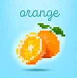 PIXEL-konst stilaffisch med den orange fruktcitruns på ljus - grönt b vektor illustrationer
