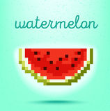PIXEL-konst stilaffisch med jordgubbefrukt på ljus - rosa backg vektor illustrationer