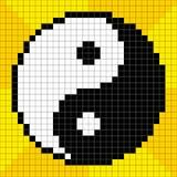 pixel-Kunst met 8 bits Yin Yang Symbol Royalty-vrije Stock Afbeelding