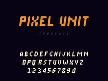 Pixel latin alphabet letters and numbers. Rounded pixel font. Vector illustration. Eps 10 vector illustration