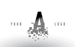 A Pixel Letter Logo with Digital Shattered Black Squares Stock Image
