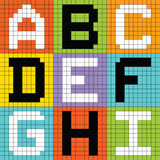 Pixel Letters Set 1: ABC DEF GHI. Letters of the alphabet depicted as pixel blocks Stock Photography