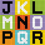 Pixel Letters Set 2: JKL MNO PQR. Letters of the alphabet depicted as pixel blocks royalty free illustration