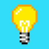 Pixel light bulb idea art cartoon retro game style Stock Photos