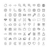 Pixel line icons set: internet, web, weather, transport Royalty Free Stock Images