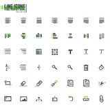 Pixel line text alignment. Set of 42 document editing line icons. Text alignment icons. Pixel perfect desing Stock Images