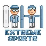 Pixel logo extreme sports Royalty Free Stock Image
